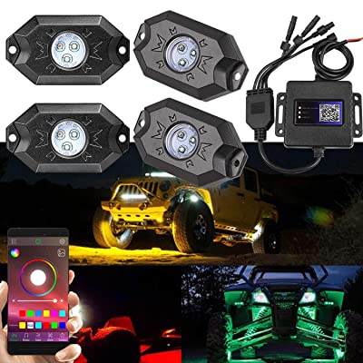 RGB LED Rock Light, Moso LED 4 RGB LED Pods Multicolor Neon Rock Light Kit with Bluetooth Remote Control Muiti-Modes Underglow Rock Rail Lights for Jeep ATV SUV Off-Road Truck Boat Marine: Automotive
