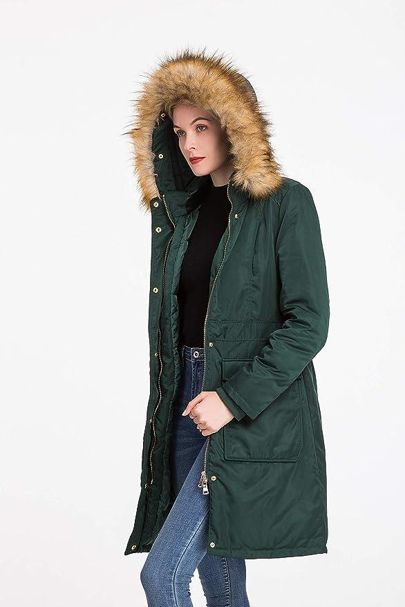 Polydeer Womens Vegan Down Hooded Long Jacket,Waterproof Thickened Winter Coat,Warm Parka