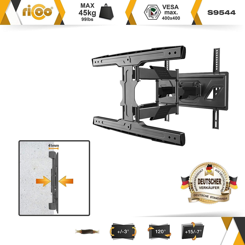 Girevole Televisore 32-58 Inclinabile Televisione LED//Curvo VESA 200x200-400x400 Staffa Universale RICOO S5944 Supporto TV Parete 81-147cm