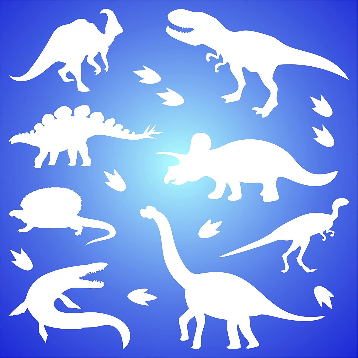 Dinosaur Silhouette Stencil 16 5cm X 16 5cm M Reusable Kids Animal Jurassic Period Stencil Template Amazon Co Uk Kitchen Home