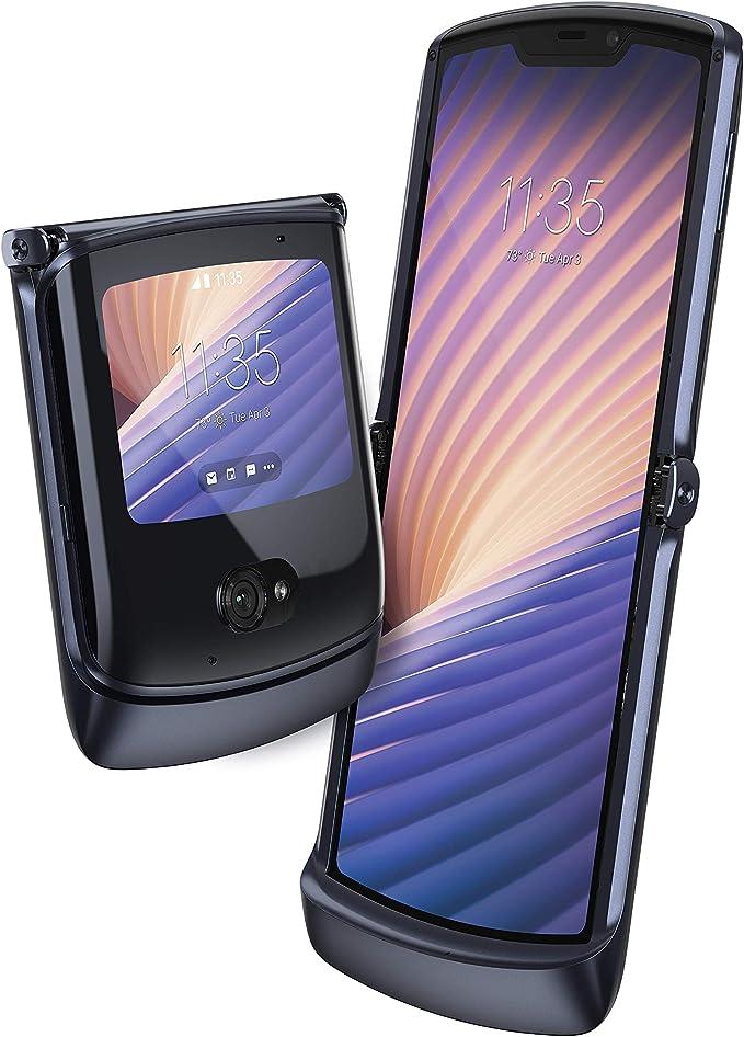 """Motorola razr 5G - Smartphone 5G, pantalla 6.2"""" HD+, procesador Snapdragon 765, cámara principal de 48MP, batería de 2800 mAH, Dual SIM, 8/256GB, Android 10 - Negro [Versión ES/PT]"""