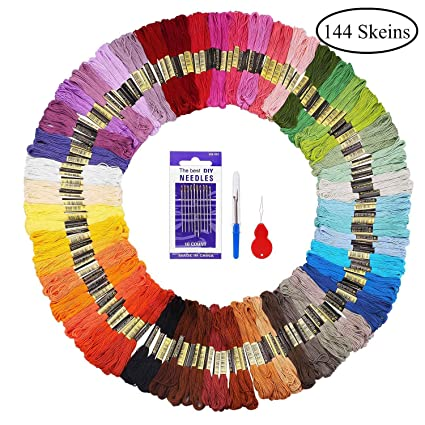 Fuyit Embroidery Threads 144 Skeins with 3 Free Embroidery Tools Rainbow  Colour Floss Cross Stitch Threads Craft thread Sewing Thread for DIY Crafts