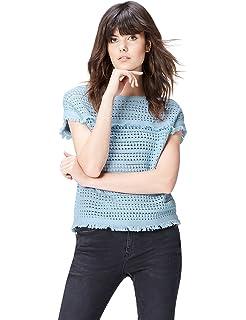 FIND Camicia a Manica Corta con Rouches Donna B074FZFFV1