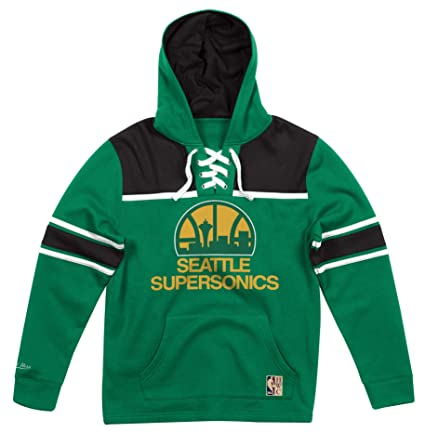278c10834c4 Image Unavailable. Image not available for. Color  Mitchell   Ness Seattle  Supersonics NBA Skate Lace Pullover Hooded Sweatshirt