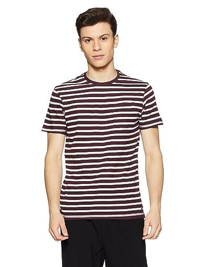 9ddb752e84d Peter England Men s Striped Slim Fit T-Shirt  (JKW318005811 DarkRedWithWhite S)