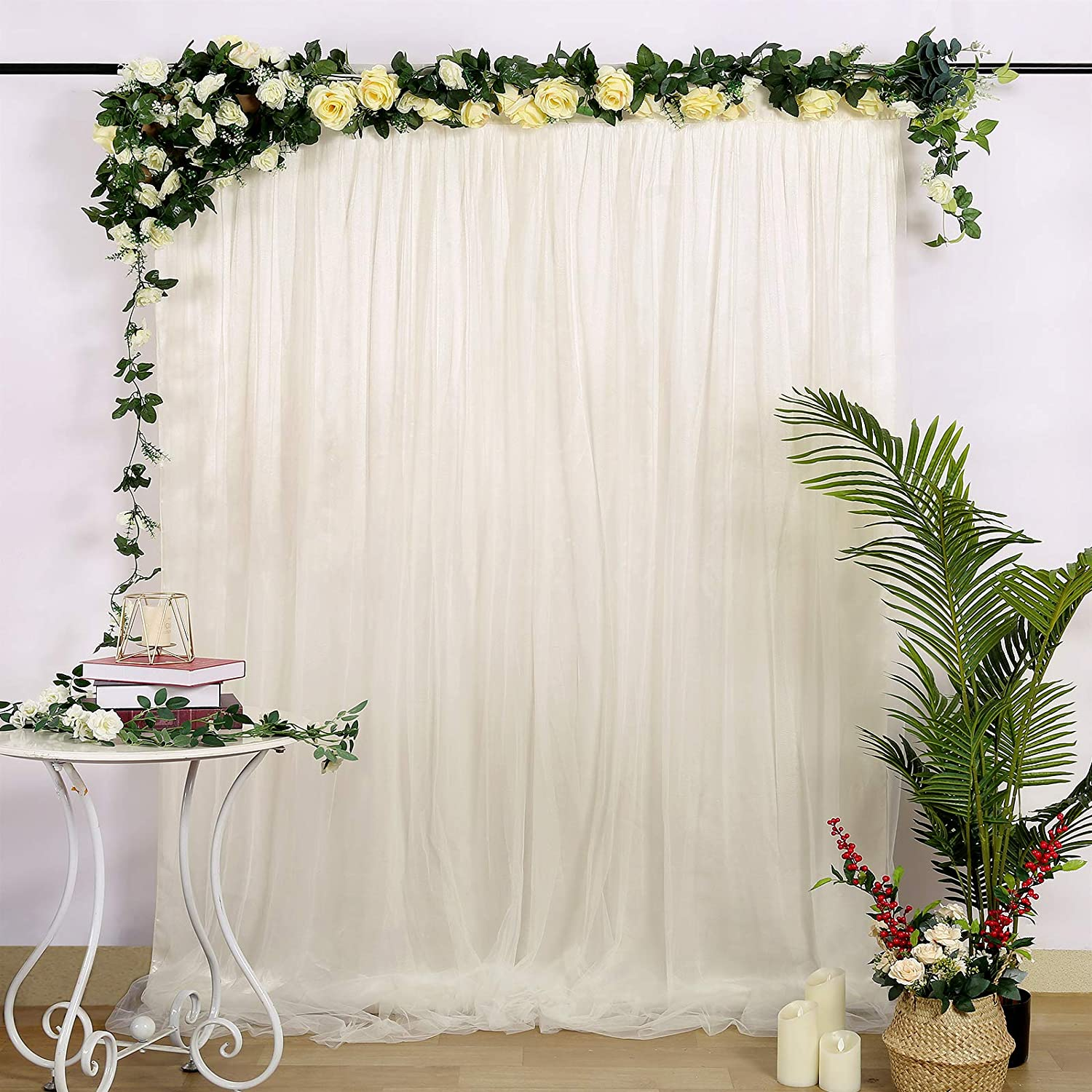White Backdrop Curtain for Parties Weddings Baby Shower Birthday Photography Bridal Shower Drape Photoshoot Backdrop Curtains with Tiebacks 5ft x 7ft,2 Panels
