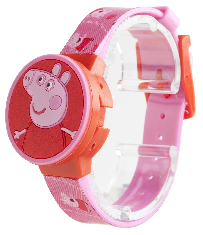 Peppa Pig PEP123 - Reloj digital infantil con esfera rosa y correa de plástico rosa: Amazon.es: Relojes