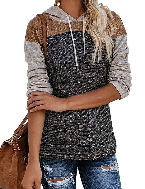 ZXZY Women Long Sleeve Tops Pullover Triple Color Block Hoodies Sweatshirt with Pocket