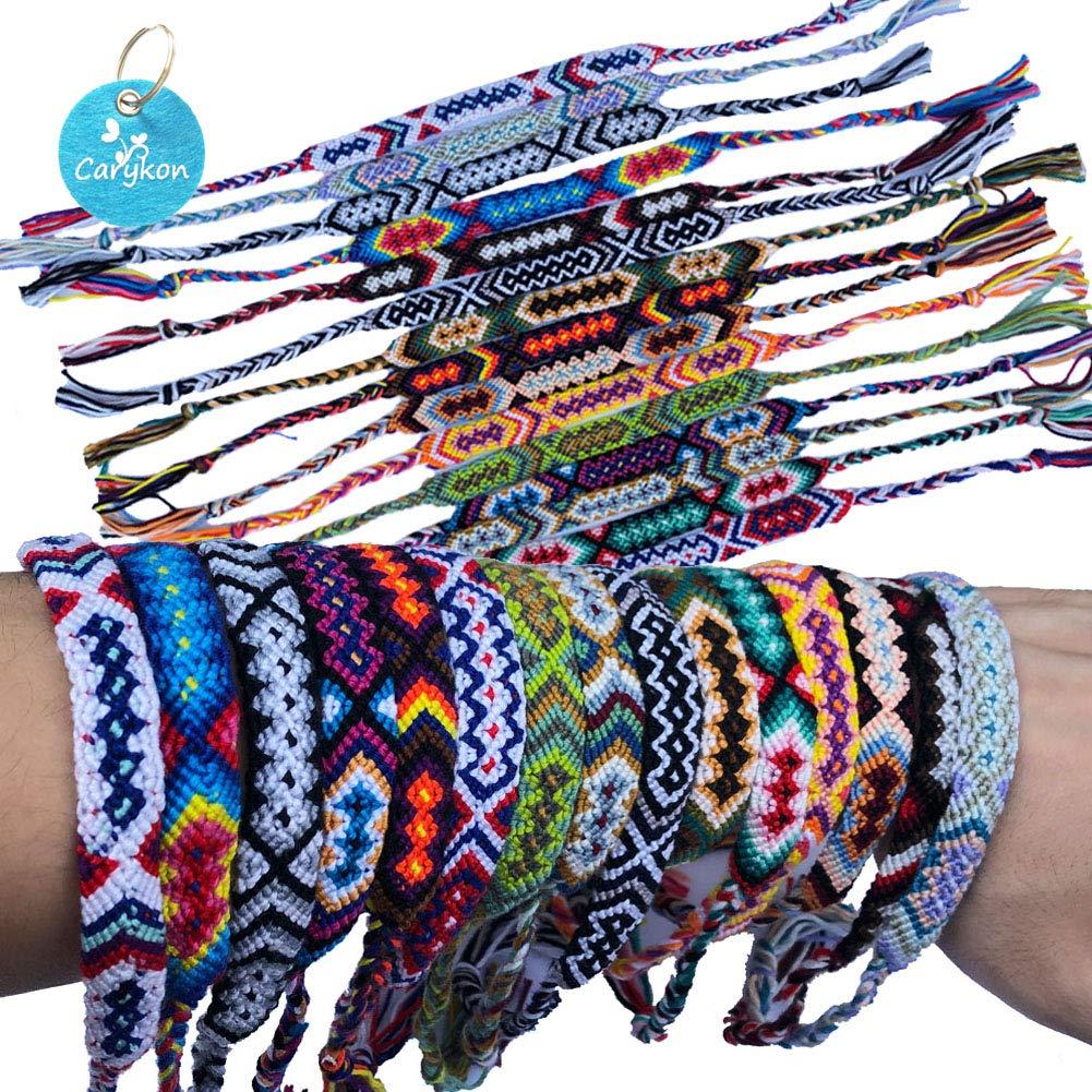 Carykon Pack of 12 Nepal Woven Friendship Bracelets (Neutral Style) by Carykon