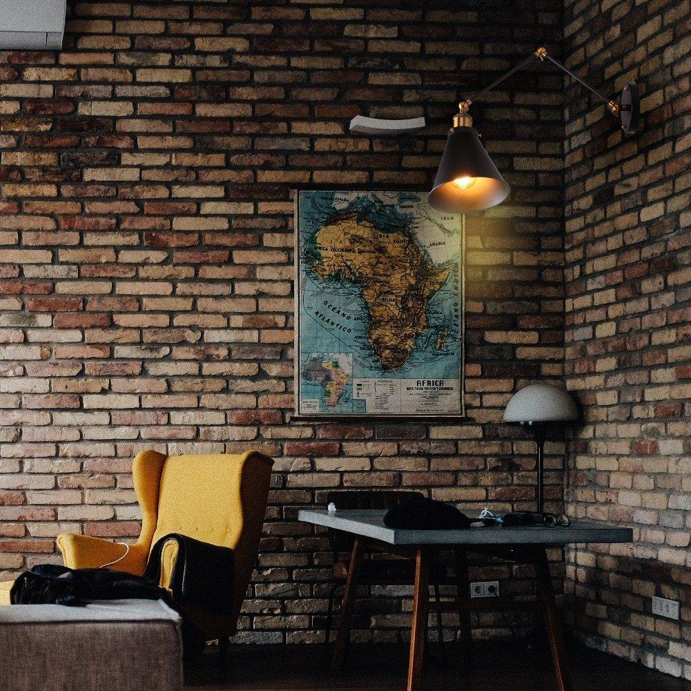 Verstellbarer schwenkbarer Langer Arm Wandleuchte E27 Wandleuchte Antike industrielle Retro rustikale pr/ägnante Schlafzimmer-Kopfende-Lesung Liaow Wandleuchten