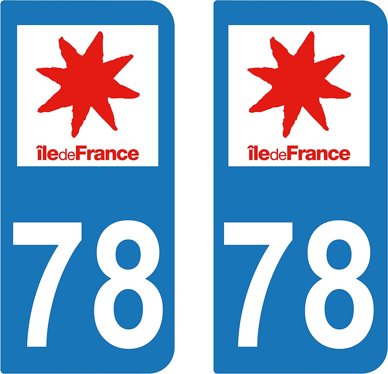 supstick 2 adhesivos adhesivo para matrícula Dept 78 región Île-de ...