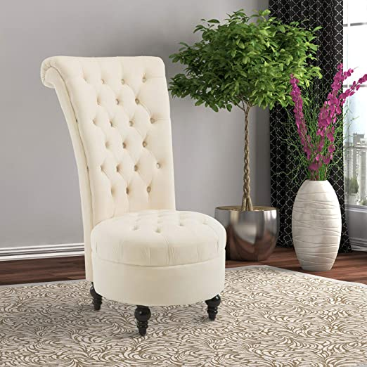 Amazon.com: Living Room Throne Chair Velvet High Back Tufted Padded Royal Accent Chairs For Girls Womens, White, Beige: Kitchen & Dining