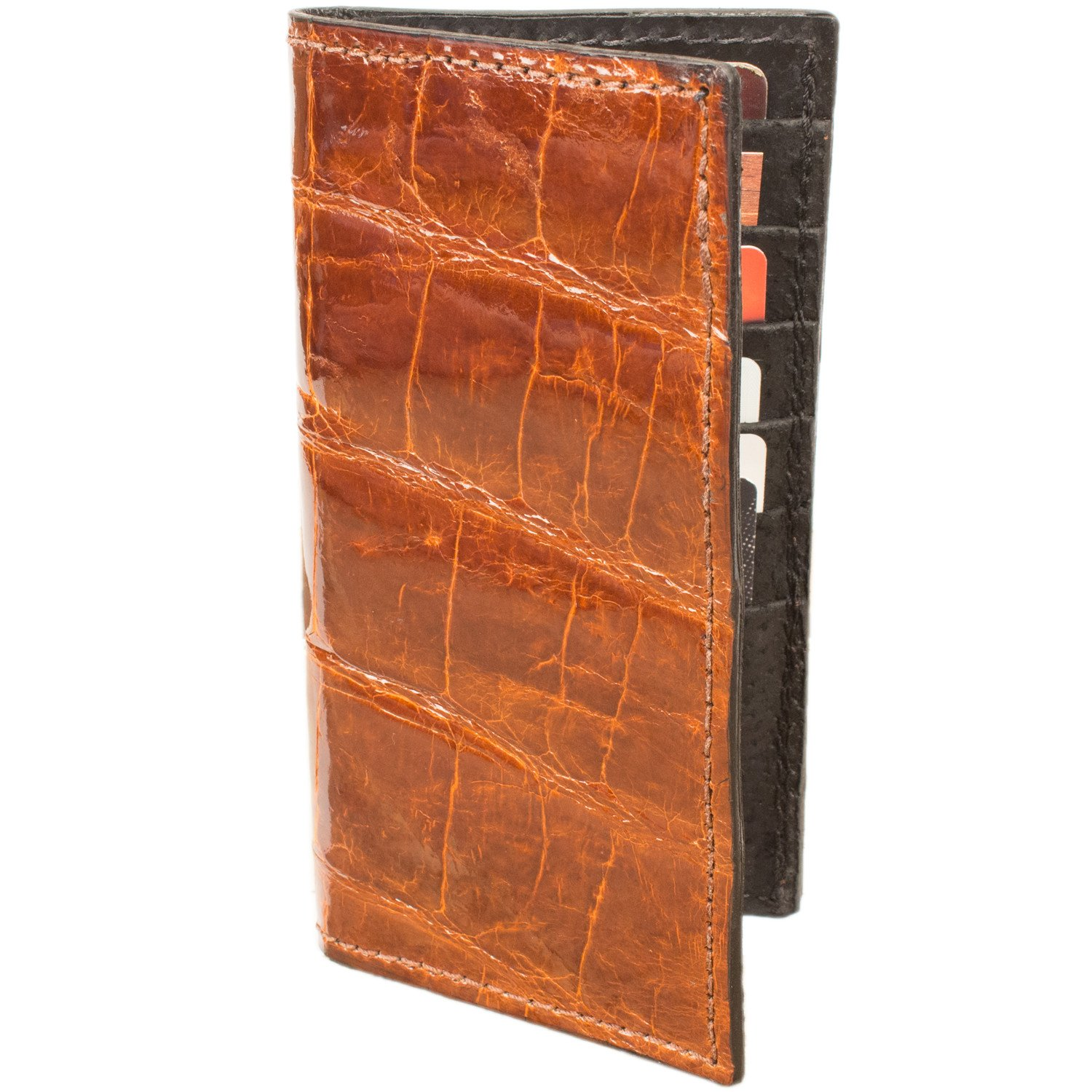 Genuine Alligator Rodeo Checkbook Leather Wallet (Cognac)