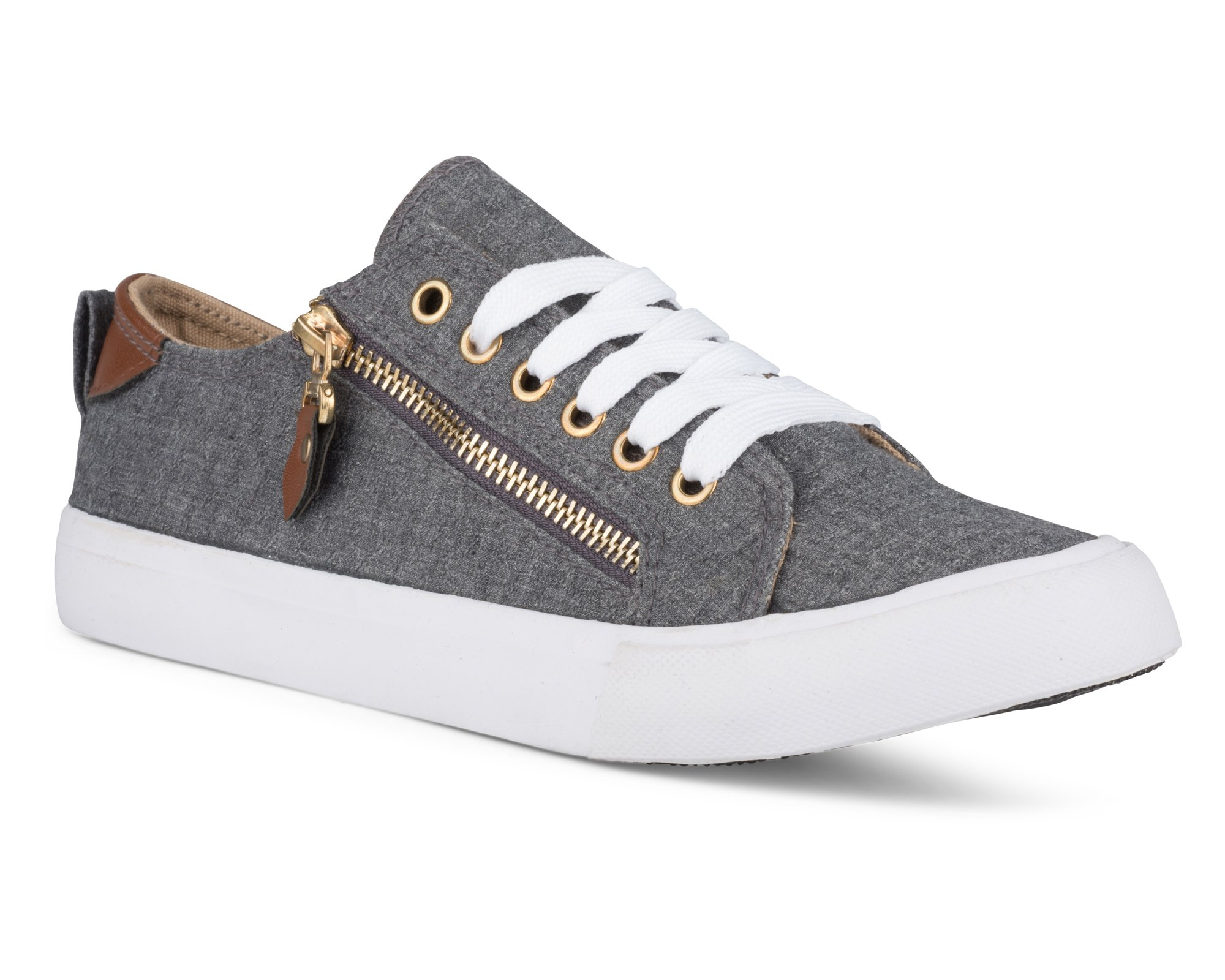 Twisted Women's KIX Canvas Sneakers with Decorative Zippers - KIXLO200CHARCOAL, Size 9