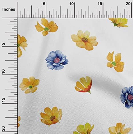"""Printed Viscose Fabric Material Green Floral Design 7 142cm 56/"""" Red Navy"""