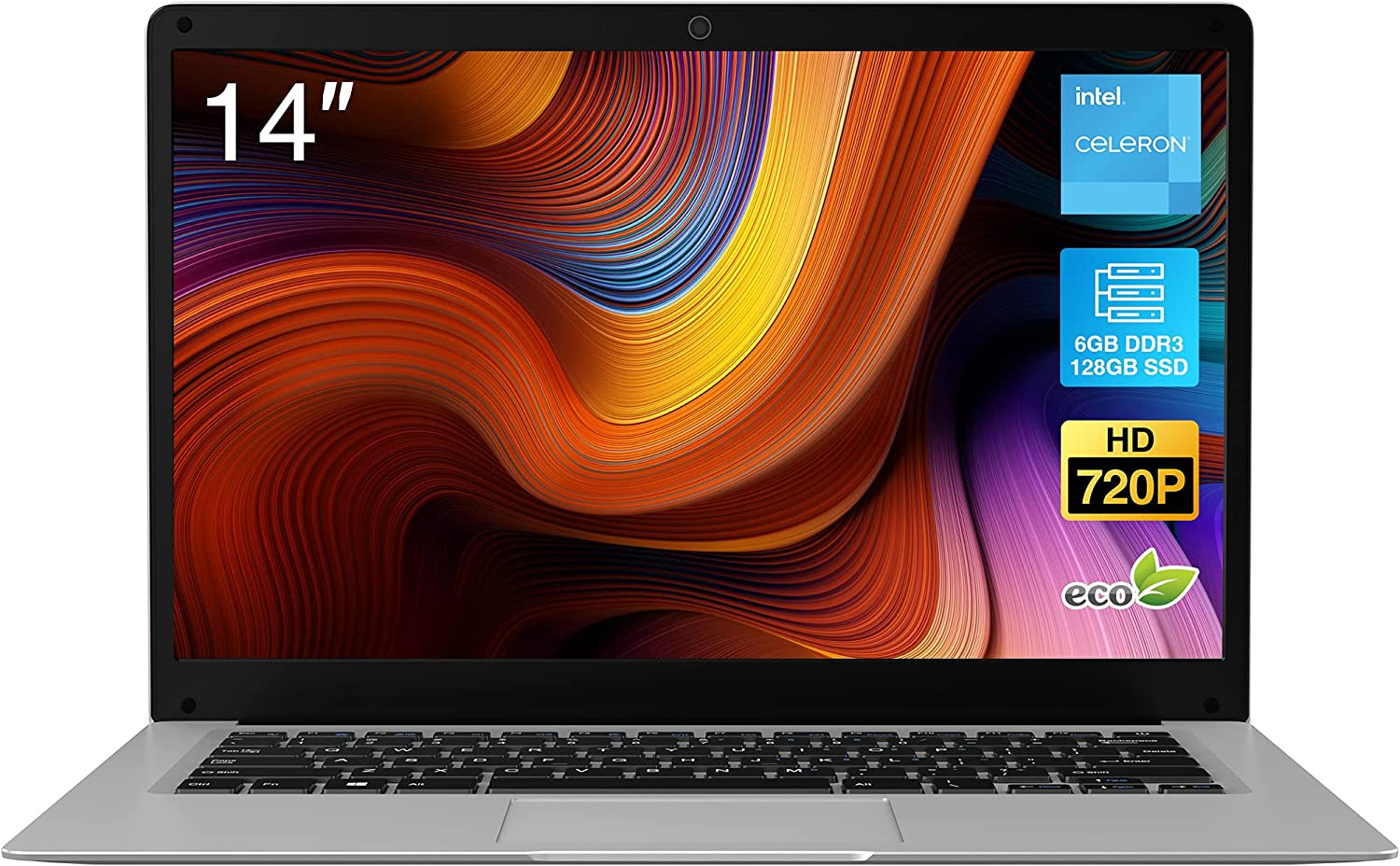 2021 New BiTECOOL CosBook Windows 10 Laptop, 14 inches HD Clear Display, Intel Celeron J4005 Dual Core(up to 2.7GHz), 6GB LPDDR3, 128GB SSD, Expandable up to 1TB, WiFi, BT4.0, 4K@60Hz Support