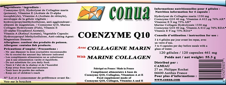 COQ10 - COENZYME Q10 ubiquinona ⭐ COLÁGENO MARINO NATURAL hidrolizado ⭐ 120 cápsulas vegetales de 461 mg en polvo - Potente antioxidante para retrasar ...