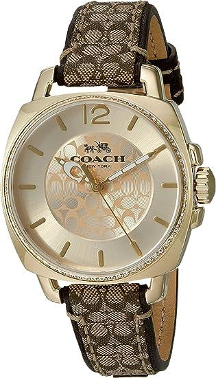 Coach Women's 14502509 Boyfriend Signature Fabric Leather Gold Tone Glitz Watch