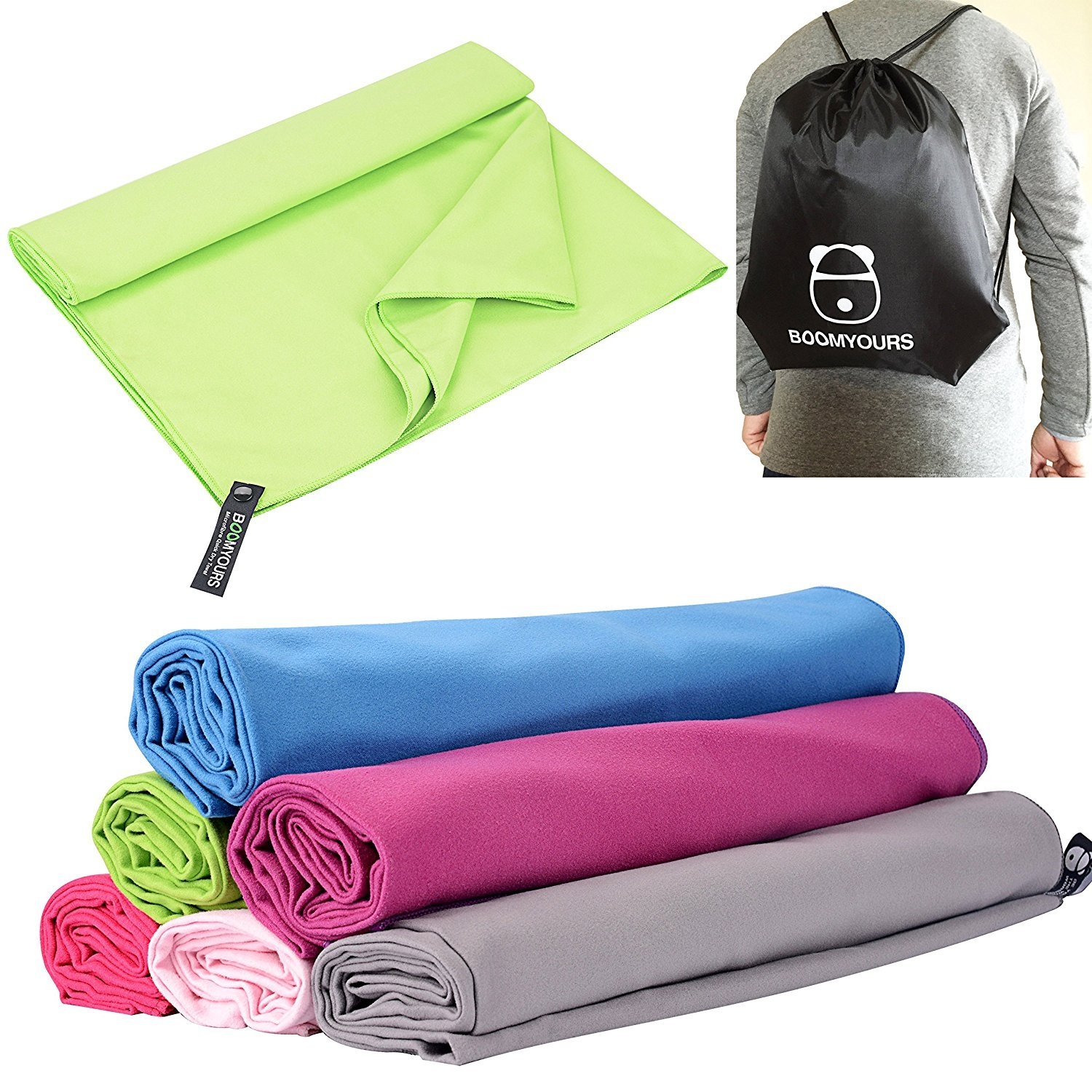 BOOMYOURS Microfibre Quick Dry Towel for Travel,Sports,Gym,Yoga,Swimming,Beach (Large/Lightweight/Highly Absorbent/Compact/Soft Microfibre)Includes FREE Sports Drawstring Bag -Green