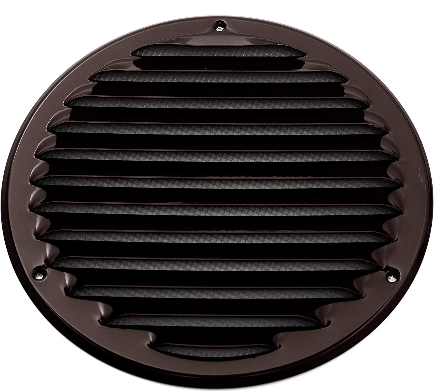 Vent Systems 8'' Inch Brown Soffit Vent Cover - Round Air Vent Louver - Grill Cover - Built-in Insect Screen - HVAC Vents for Bathroom, Home Office, Kitchen