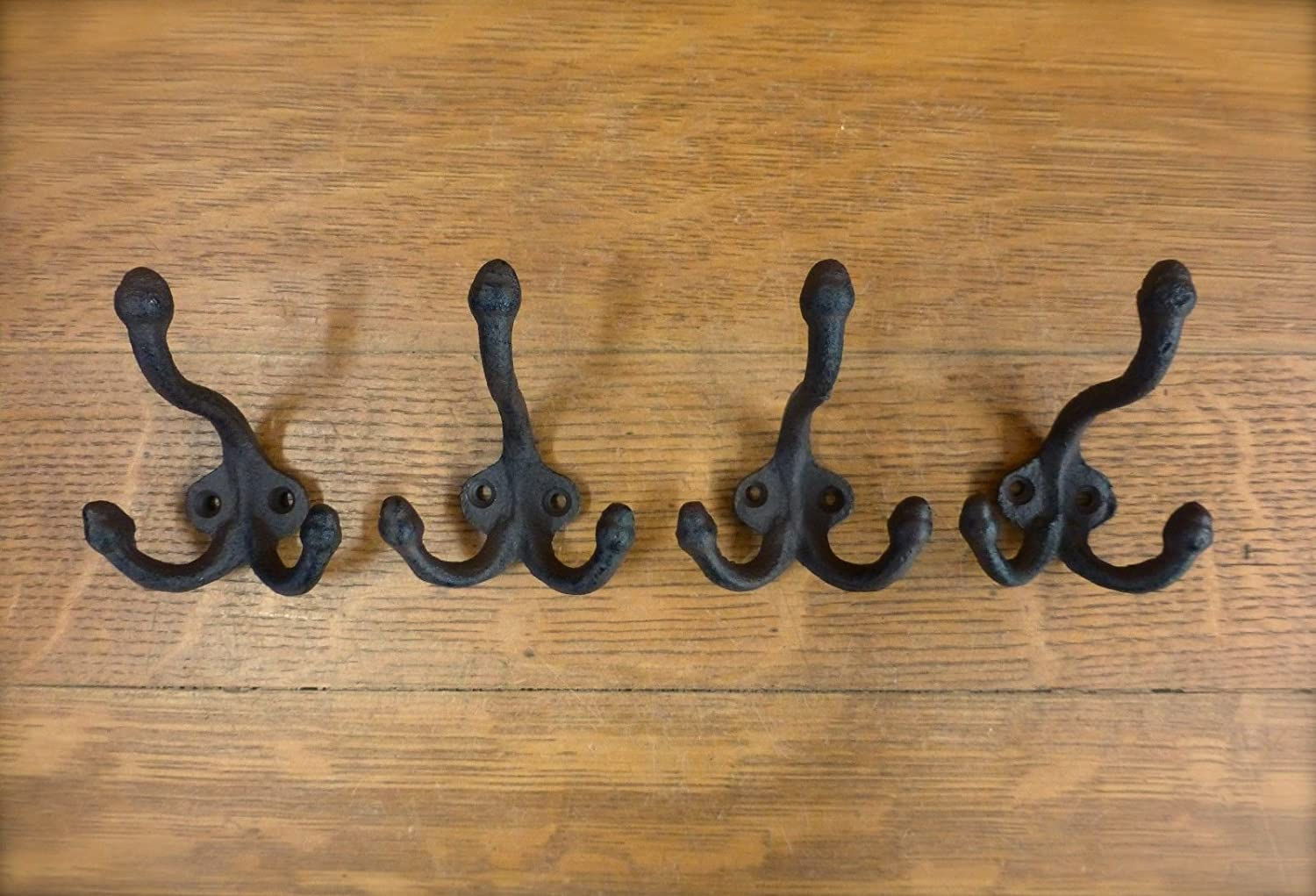 4 BROWN ANTIQUE-STYLE TRIPLE THREE COAT HOOK CAST IRON rustic wall hardware hat