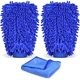 INTEY Car Wash Mitt, Car Cleaning Kit, 2 Packs Microfiber Chenille Wash Glove with 27x12 Inch Towel, Blue