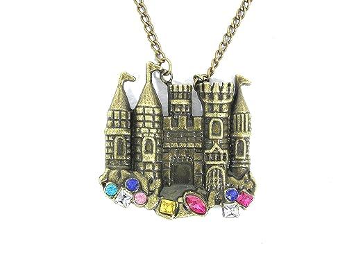 Magic Metal Fairy Tale Castle Necklace Crystal Palace 90s Pretty Princess NA17 Vintage Pendant