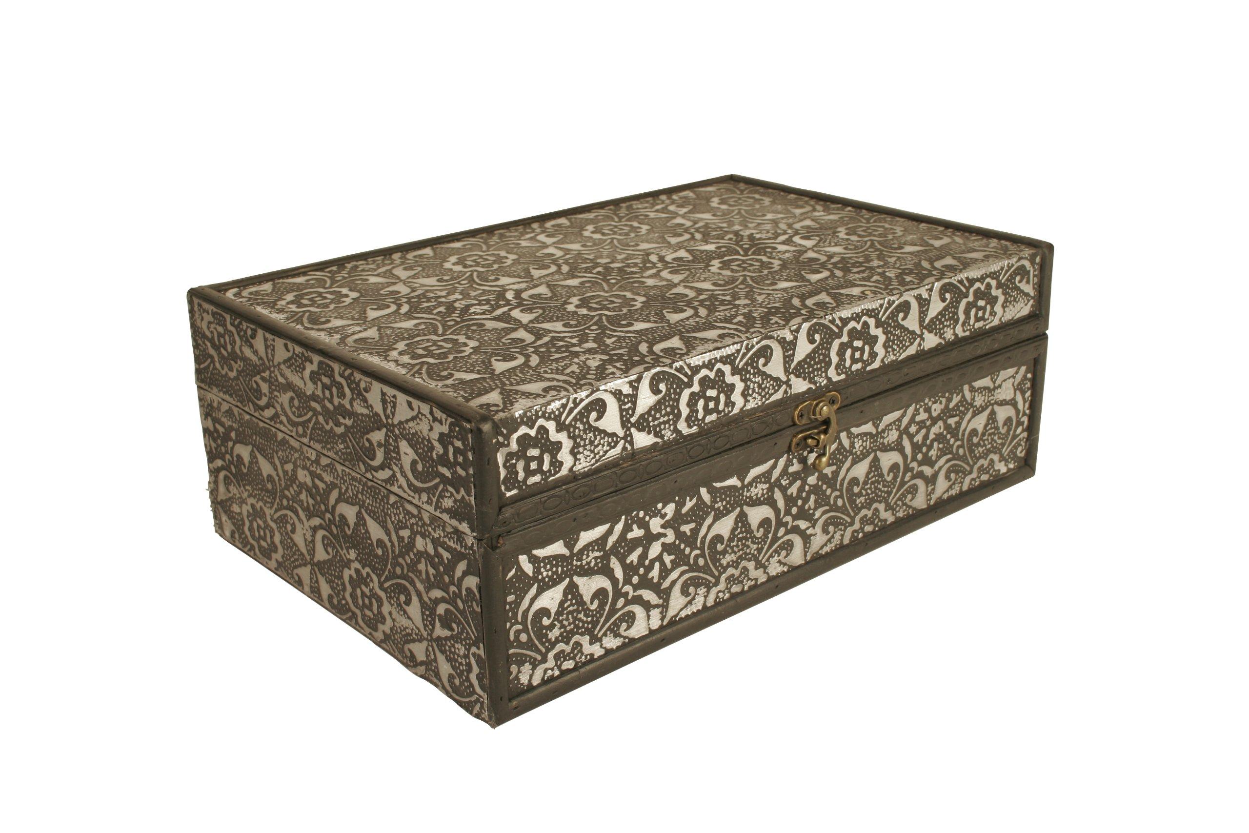 Wald Imports Silver Metal & Wood 13'' Decorative Storage Box/Trunk