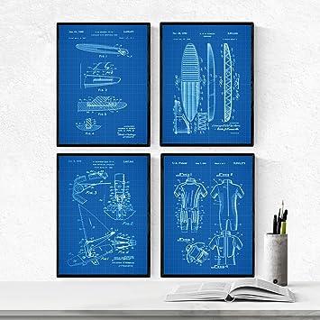 Nacnic Azul - Pack de 4 Láminas con Patentes de Surf. Set de ...