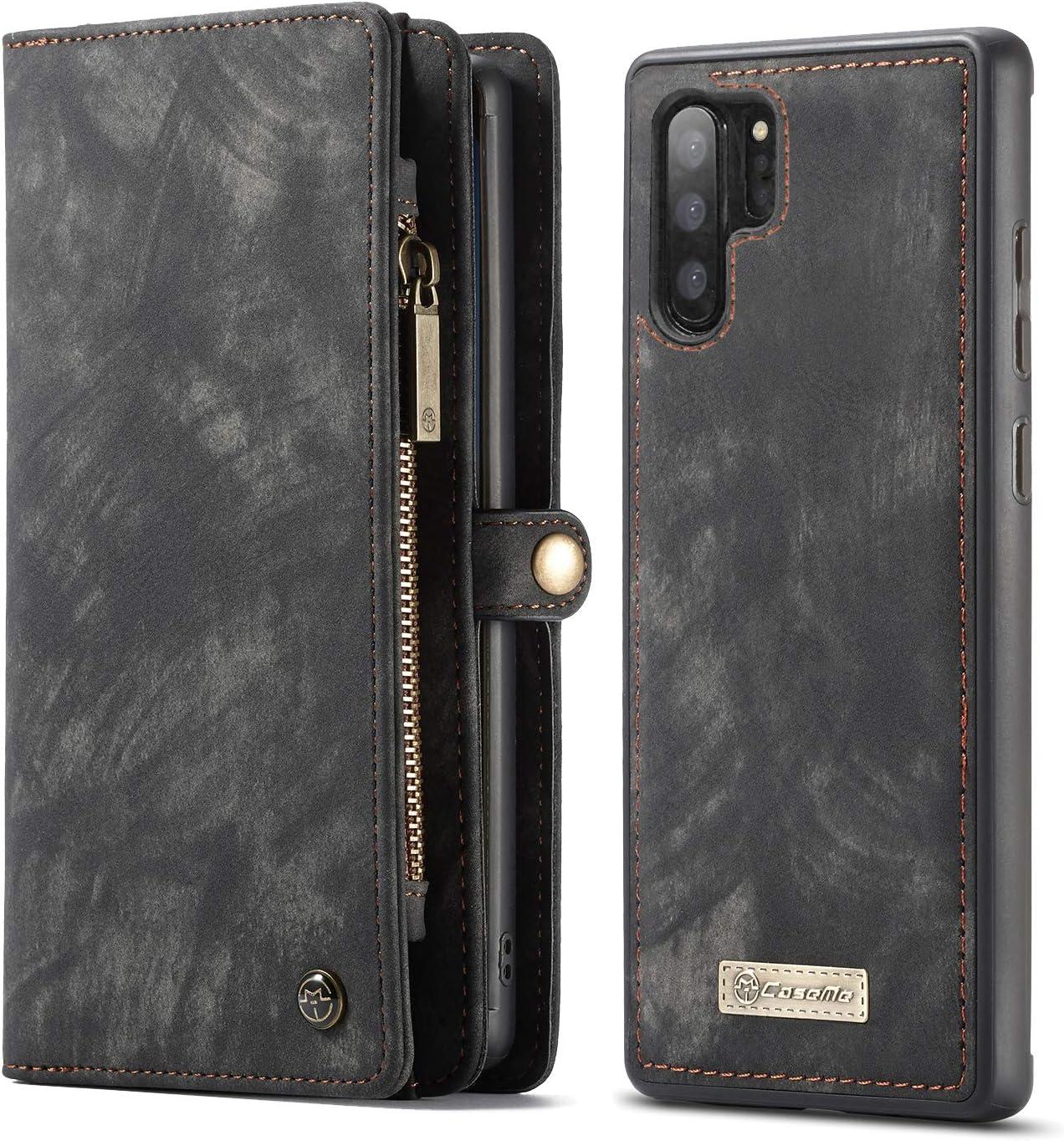 Simicoo Samsung Galaxy S10 Plus Leather Wallet Zipper Purse Detachable Card Slots Holder Flip Case Magnetic Handle Wrist Strap Shockproof Pocket Wallet Handbag for Galaxy S10 Plus (Black, S10 Plus)