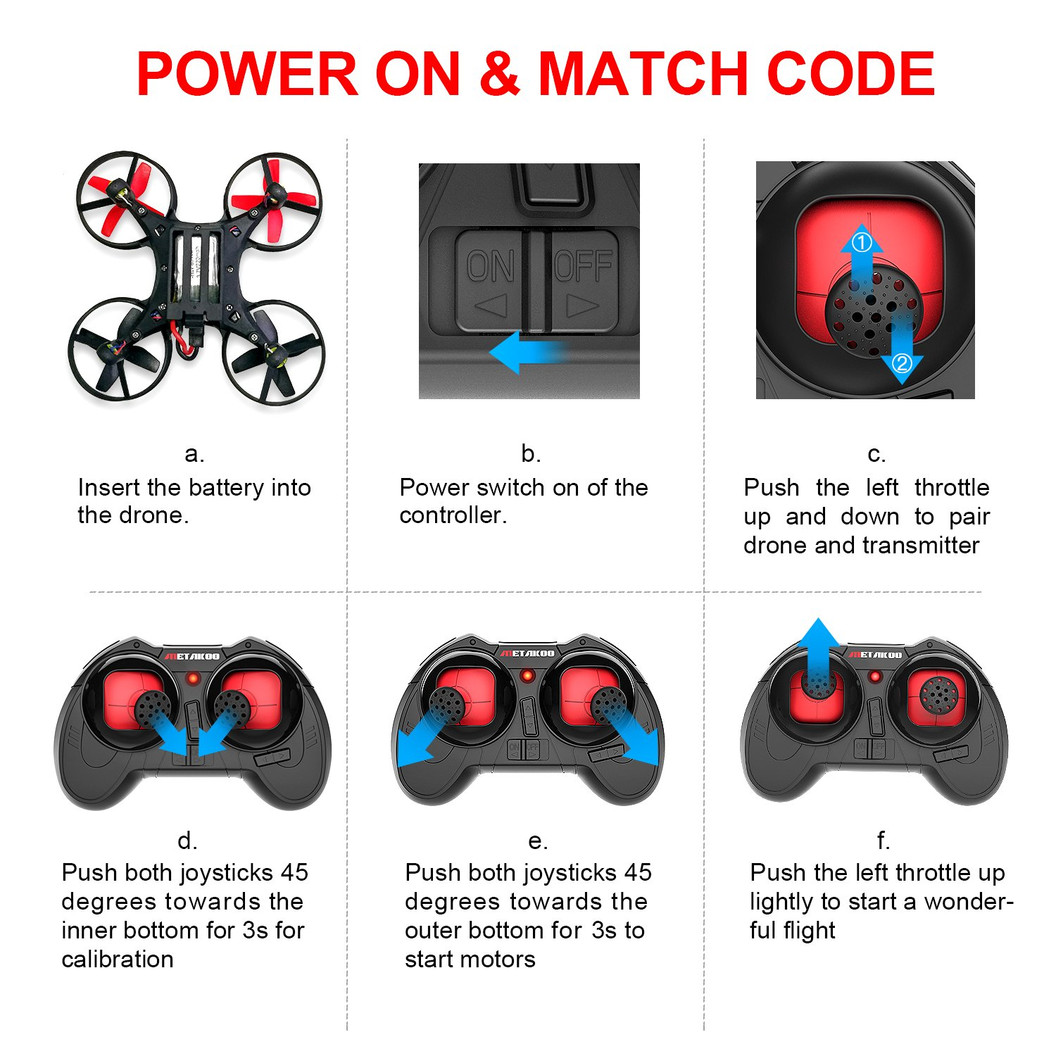 Drone, Metakoo M1 Mini Drone 2.4GHz 6-Axis Double Battery for Beginners and Kids Drone with 360°Full Protection, Altitude Hold, 3D Flips, Headless Mode, 3 Speed Modes Functions by METAKOO (Image #7)