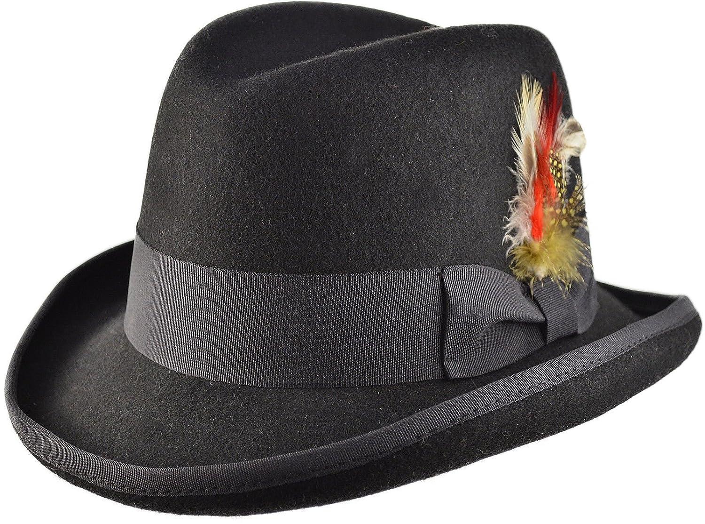 Brown 100/% Wool High Quality Hard Top Churchill Homburg Felt Trilby Hat