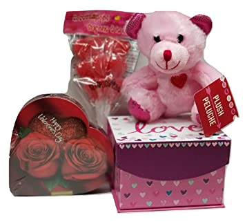 Valentines Day Love Gift Box Set- Inludes Gift Box, Pink Teddy Bear Red Heart