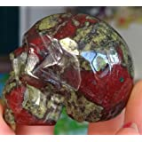 """1.9""""Hand Carved Natural Gemstone Carving Skull Statue Figurine Collectible (Dragon Blood Jasper)"""