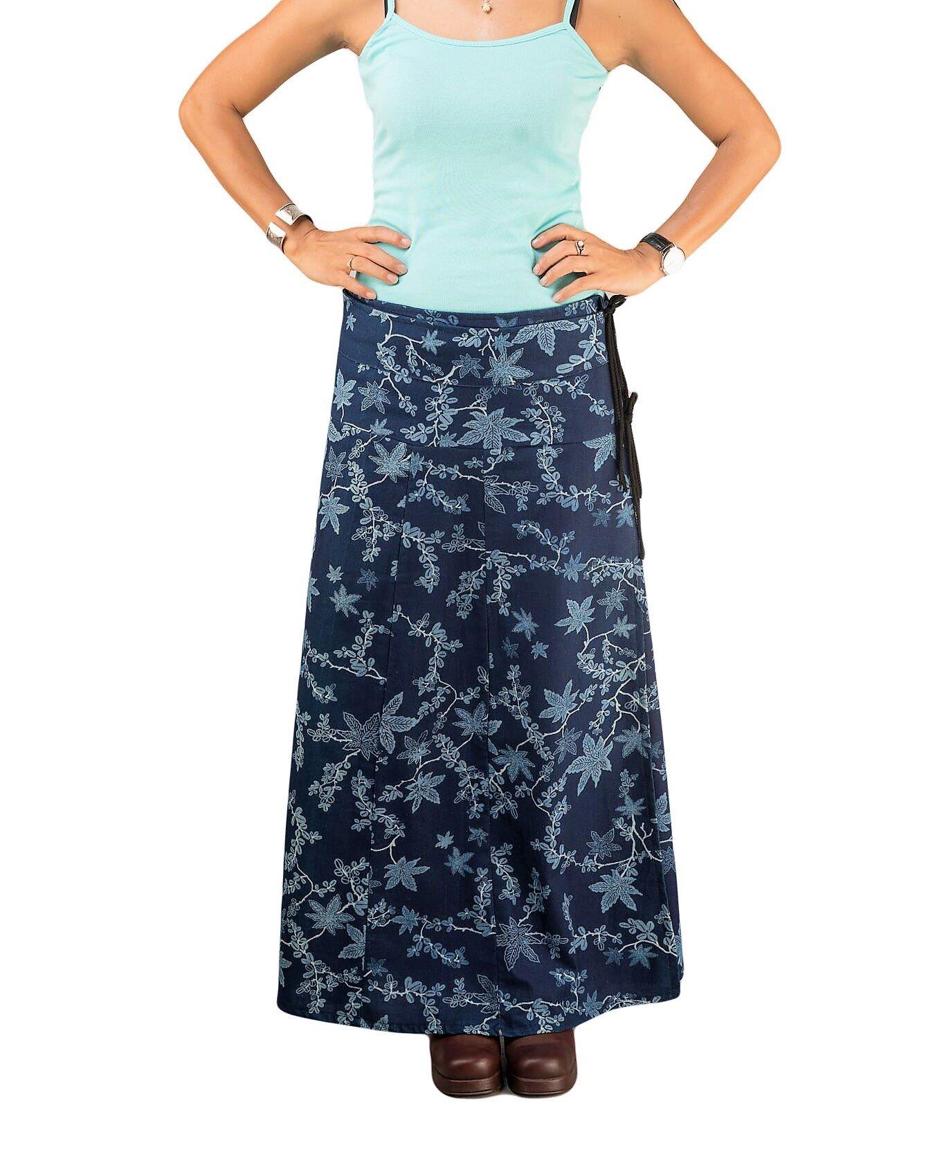 Women's A-line Cotton Wrap Skirt Floral Maxi Long Soft Indigo Navy Autumn Smart Casual Loose