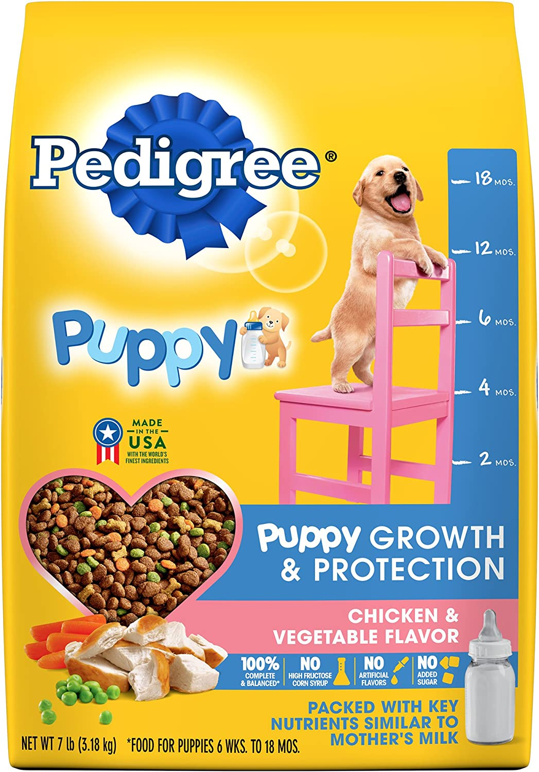 Pedigree Puppy Growth & Protection Dry Dog Food Chicken & Vegetable Flavor, 7 Lb. Bag