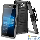 Lumia 950 Case, CellJoy [Ultra Rugged Hybrid] {Gray} Microsoft Lumia 950 2015 Release ModelShockProof Reinforced Bumper Protection CoverKickstand [Locking Swivel Belt Clip Holster Combo]