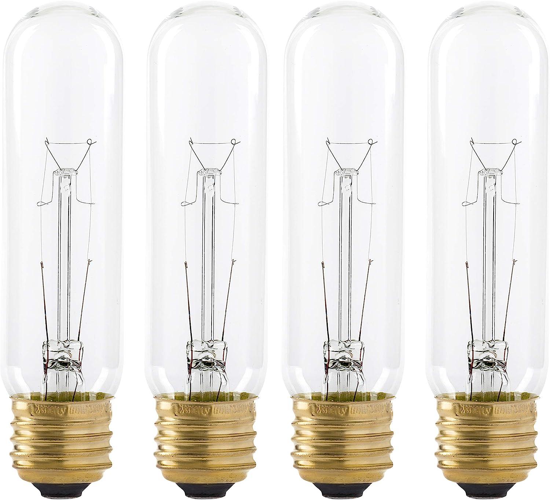25 Watt T10 Clear Tubular Incandescent Light Bulb, 2700K Soft White, E26 Medium Base, 160 Lumens, 120V, (4 Pack)