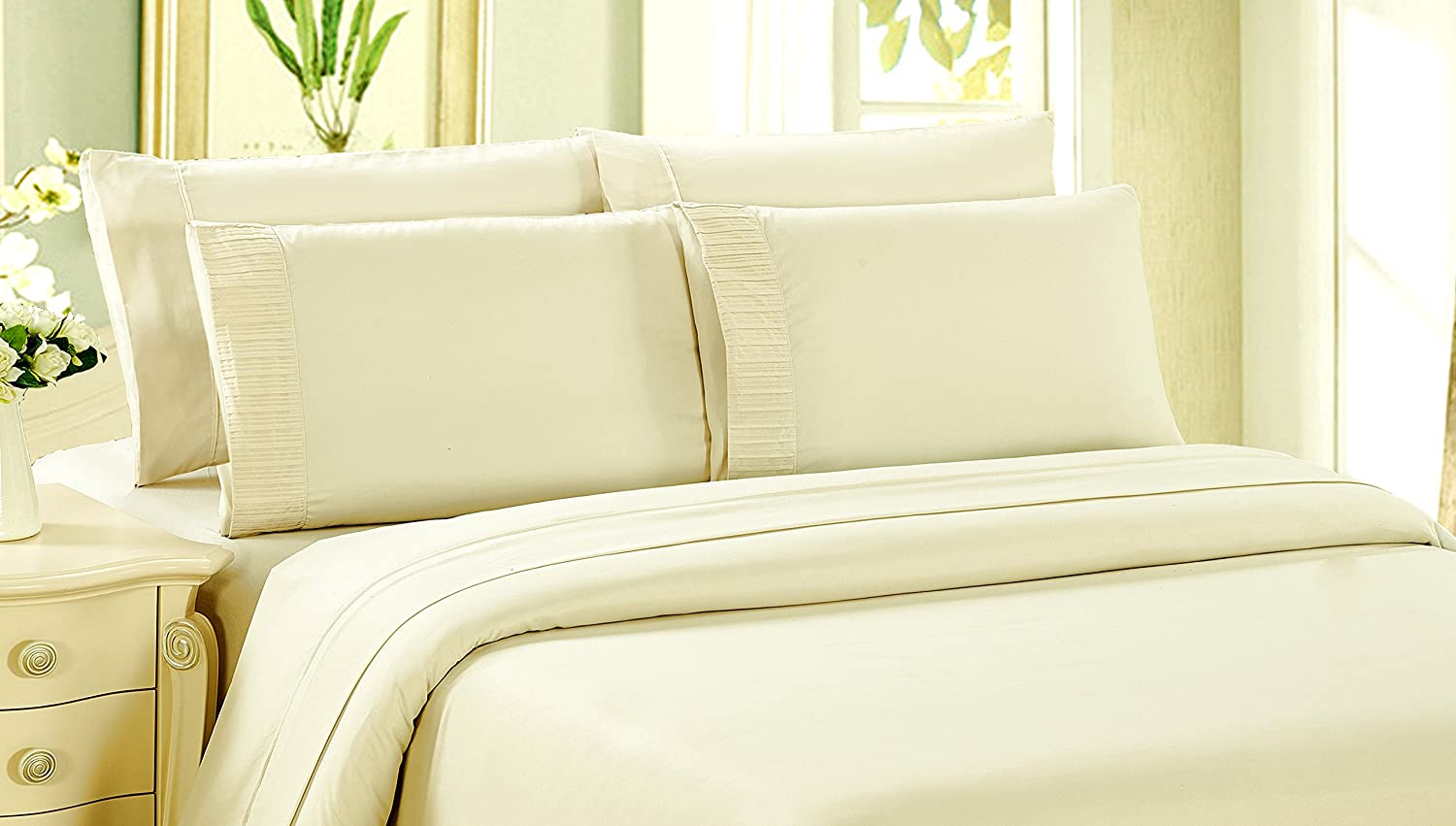 Bamboo Living Eco Friendly Egyptian Comfort Bedding 3 Piece Duvet Cover Set with 2 Pillow Shams, Ivory Color, Queen Size