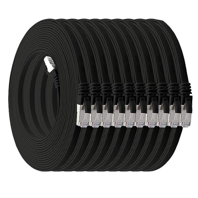 21 opinioni per 1aTTack.de 0,25m- nero- 10 Pezzi Cat.7 cavo di rete piatto 10GB/s Slim Flat Cavi