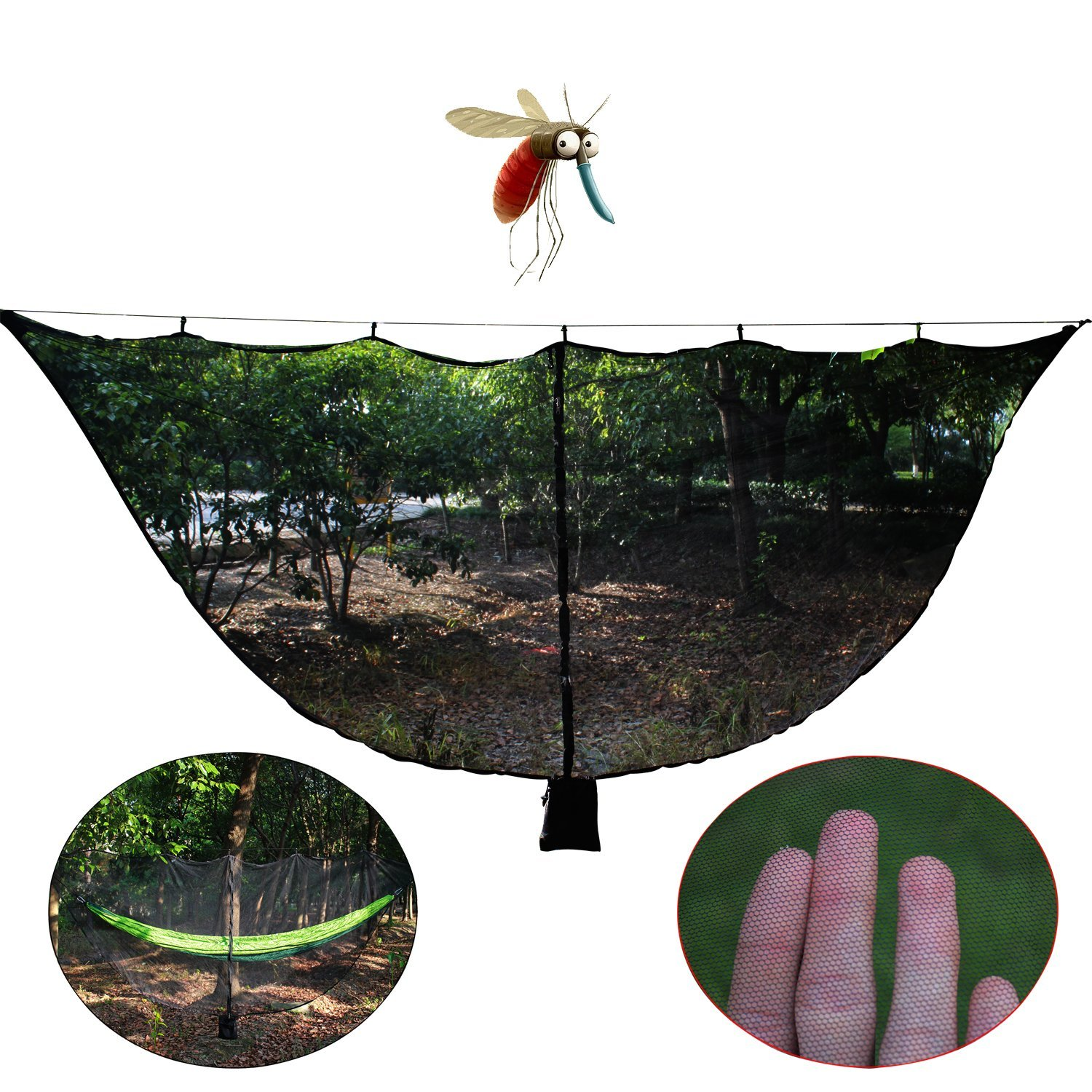 OUTDOOR SKY 11' Hammock Bug Net Stops Mosquito - No See Ums & Repels Insects, Exclusive Polyester Mesh for 360° Protection Fits ALL Camping Hammocks - Lightweight, Fast Easy Setup - 130'' x 59'' (Black)