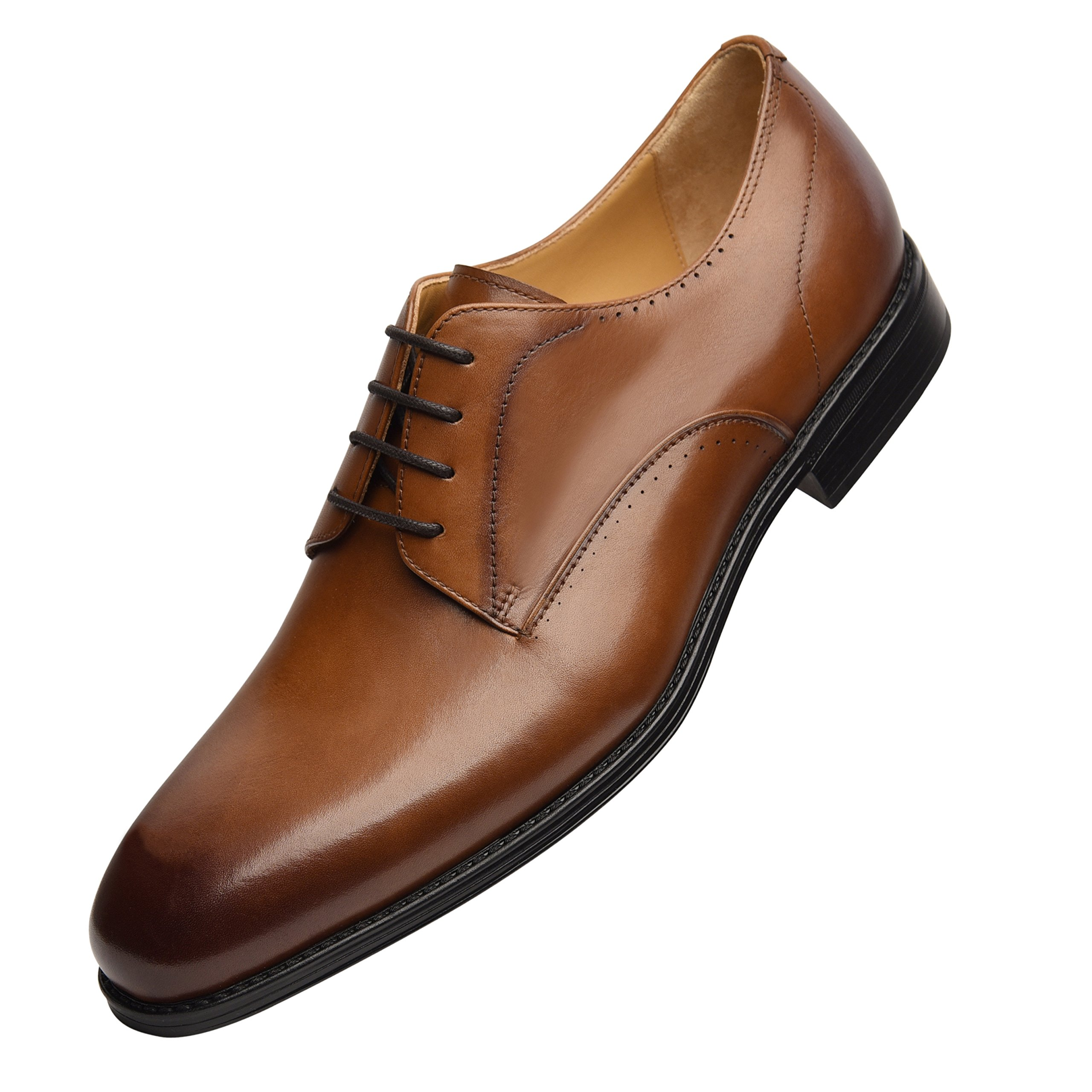 COMOTEK Mens Dress Shoes with Comfort Removable Soft Leather Insoles, 2018 Classic Oxford Design, Handcrafted by Full Grain Leather-Andros, TAN, US10.5-1
