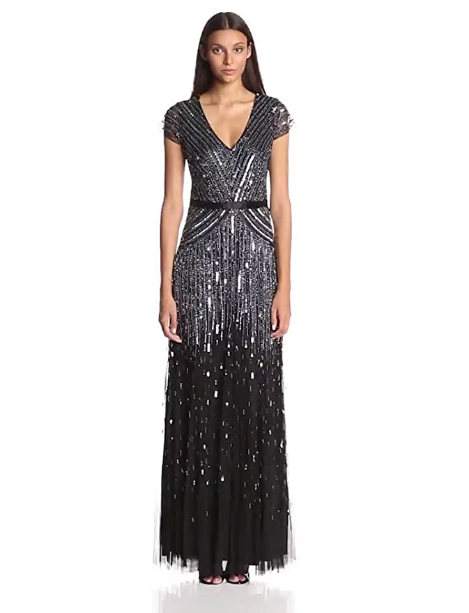 Amazon Adrianna Papell Womens Long Beaded V Neck Dress With
