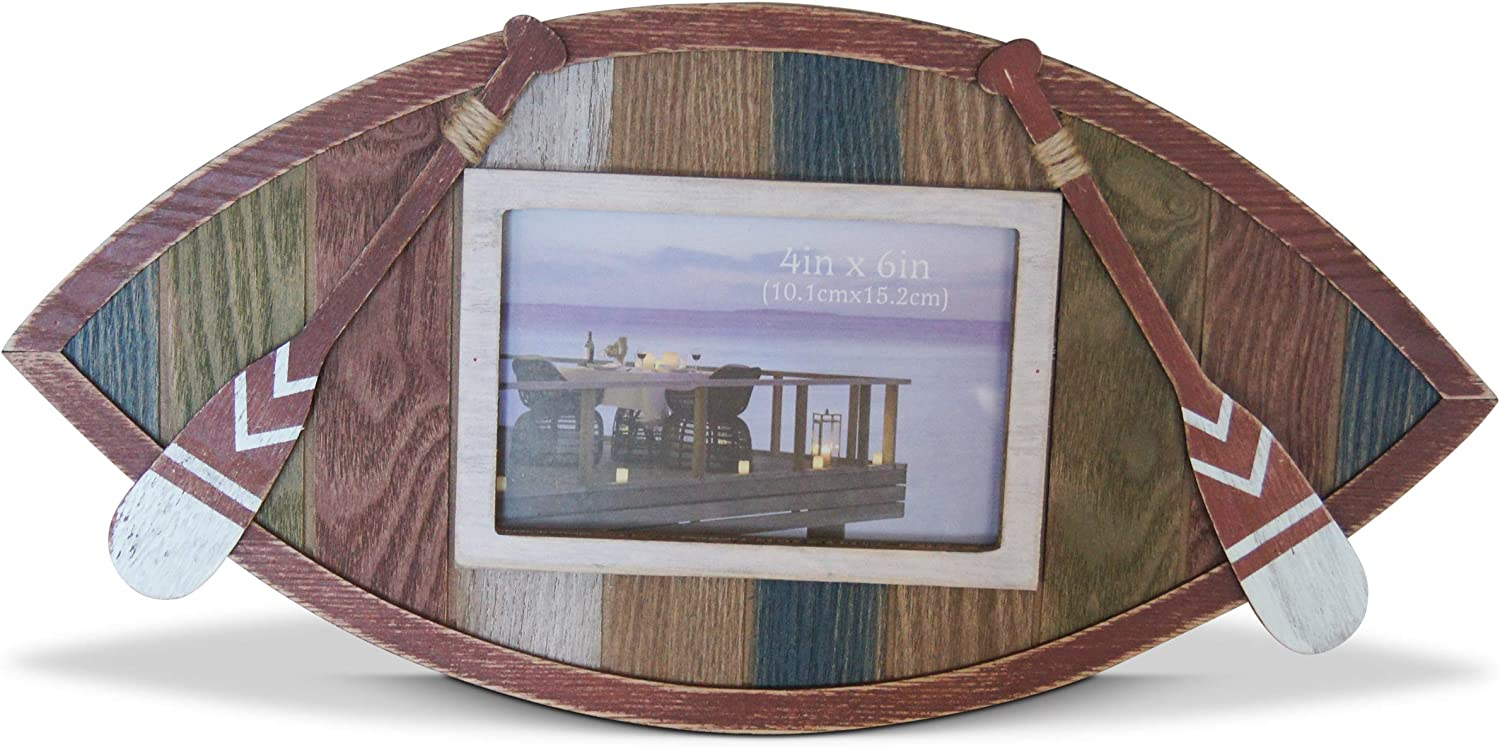 Shoreside Nautical Lake House Row Boat Long Themed Quad-Color Standing or Wall Hanging Picture Frame Decor Distressed Rustic Design with Oar Accents (1 Piece)