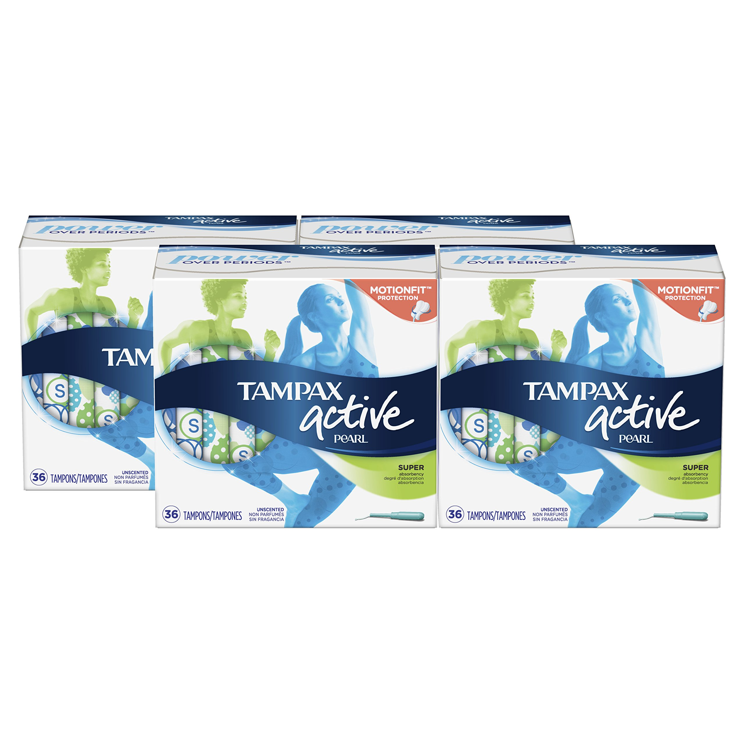Tampax Pearl Active Tampons with Plastic Applicator, Super Absorbency, Unscented, 36 Count- Pack of 4 (144 Count Total)