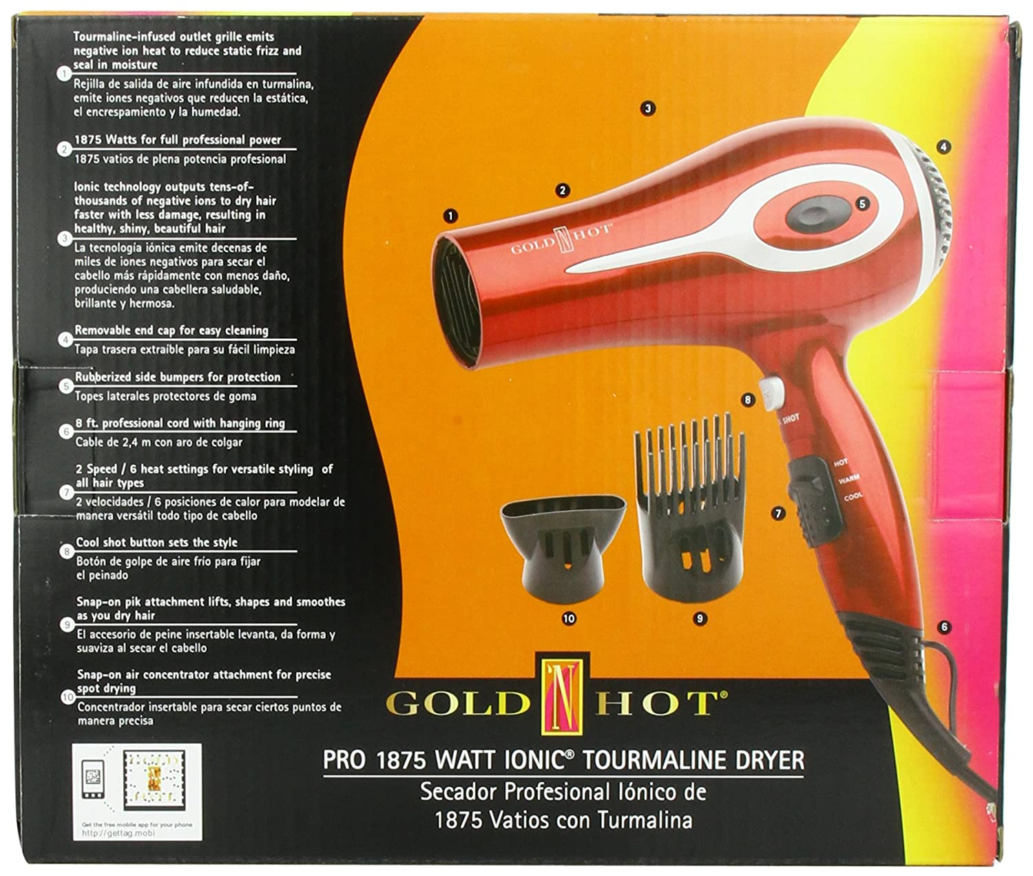 Amazon.com: Gold N Hot 1875-Watt Professional Ionic Tourmaline Dryer: Beauty