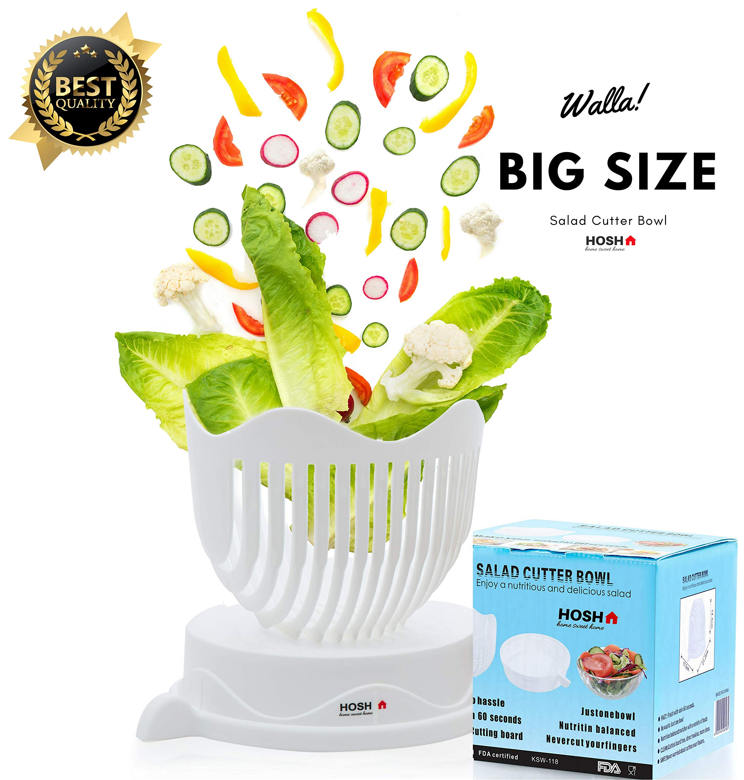 HOSH Salad Cutter Bowl/60 Seconds Salad Maker By Kitchen/HQ ABS Plastic/Large Size/Fast Fresh Fruit Vegetable Cutter Chopper Slicer/strainer/cutting board/1 Minute Salad Maker