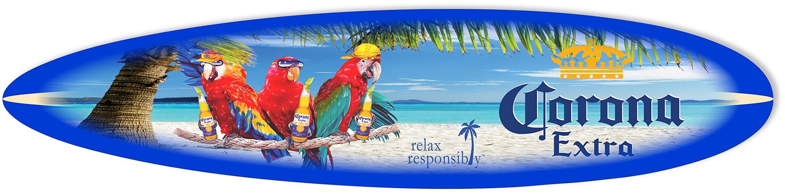Corona Sign - 4' Malibu Surfboard Parrots at The Beach