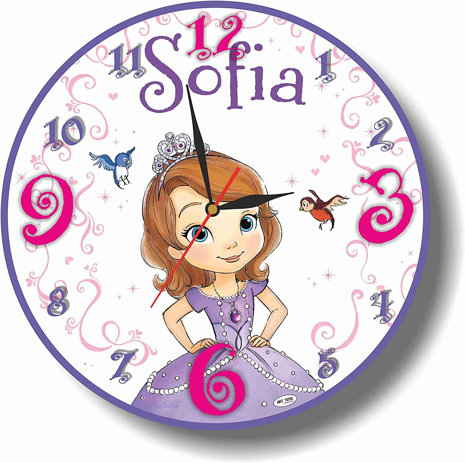 Art time production Sofia The First 11.8'' Handmade Wall Clock - Get Unique décor for Home or Office – Best Gift Ideas for Kids, Friends, Parents and Your Soul Mates