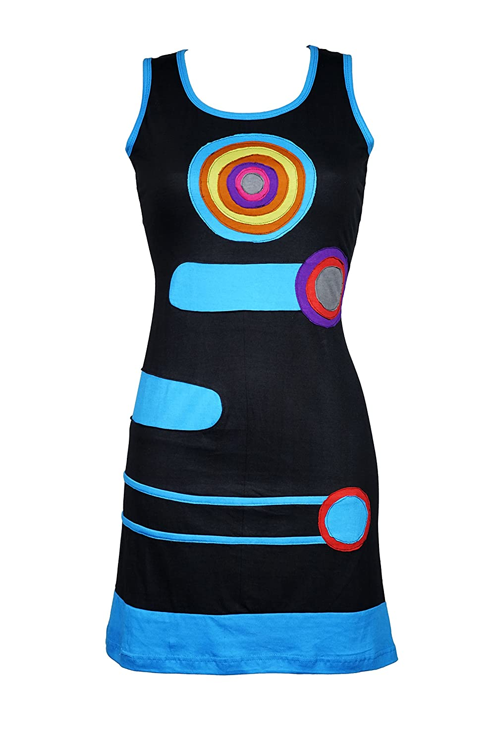 Luftiges Mini Kleid im Patchwork Design - Ethno - Hippie - 100% Baumwolle - CHAKRA